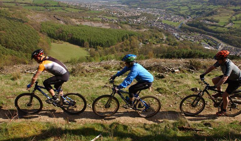 Cyclists on Twrch Trail, Cwmcarn