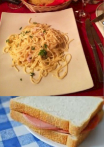 Carbonara and a ham sandwich