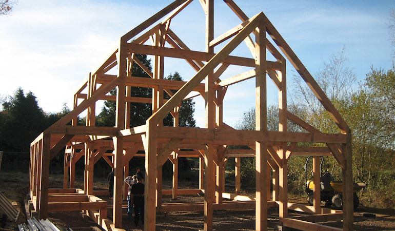 Wooden frame f a building
