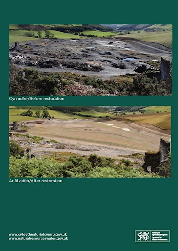 Before and after picture of an old metal mine in Ceredigion