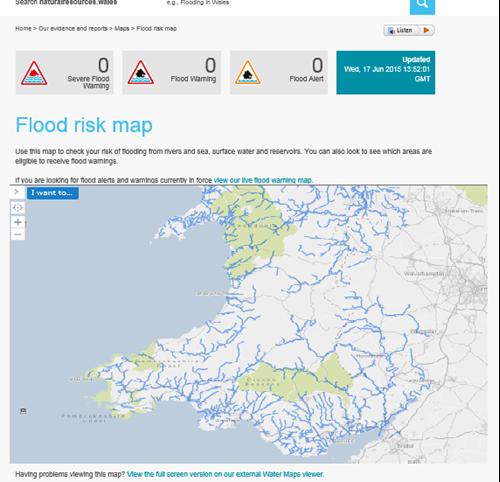 Flood risk map screenshot