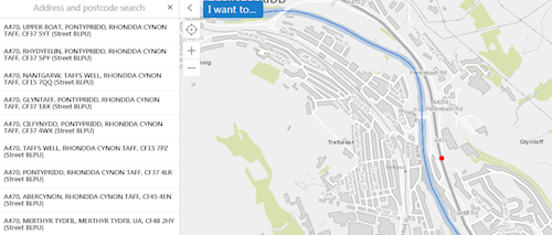 Searching with road names in the Flood risk map