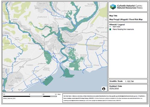 PDF export of flood risk map