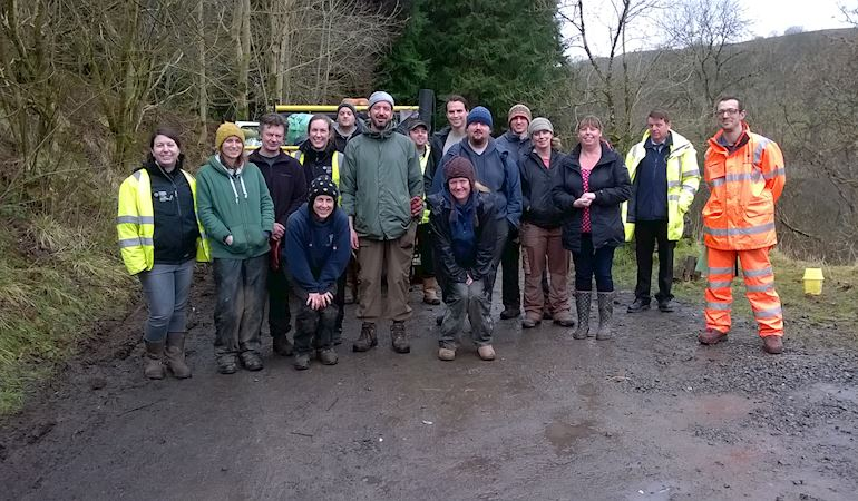 NRW clean-up team in Cwm Taf Fechan