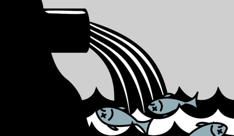 Drawing of a pipe discharging water into the sea pouring onto three fish