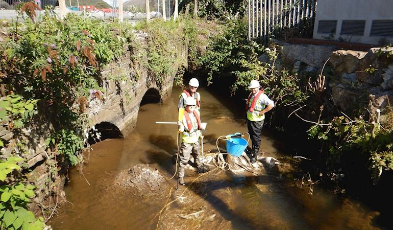 NRW and ABP staff carrying out work on the river Afan