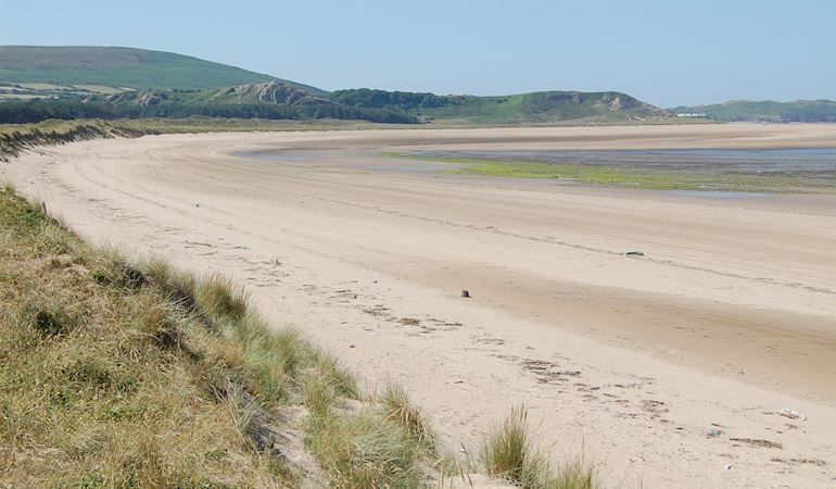 View of the beach at Oxwich