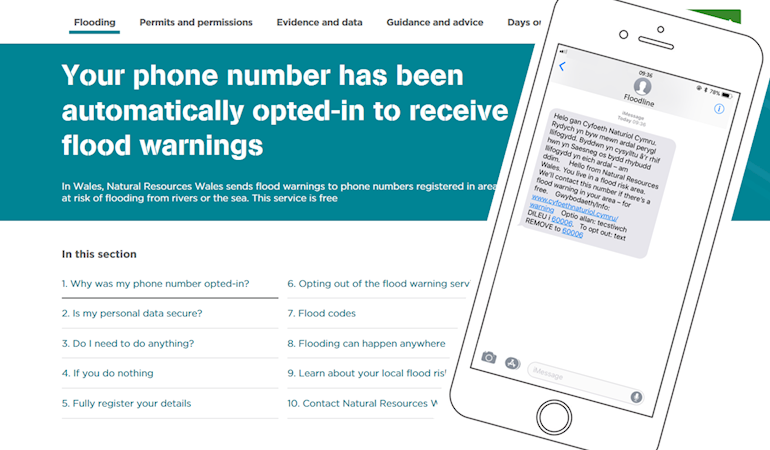 Your phone number has been automatically opted-in to receive flood warnings