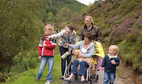 A group of people on an accessible trail