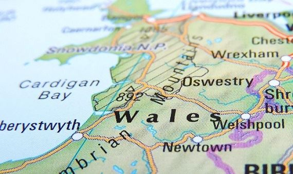 Close up of part of map of Wales