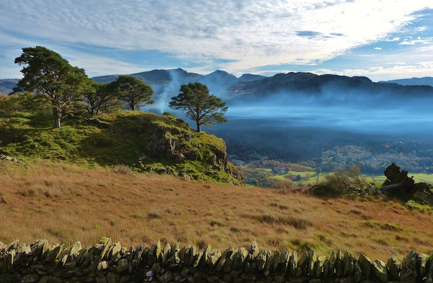 North west Wales mountain scenery, looking over stone wall
