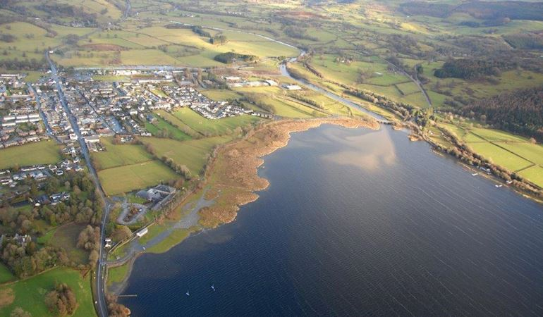 Aerial view of  Llyn Tegid