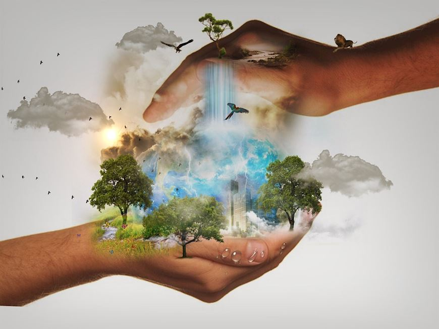 Image representing sustainability.  Hands cradling the natural world