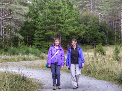 Two women walking in Newborough Forest