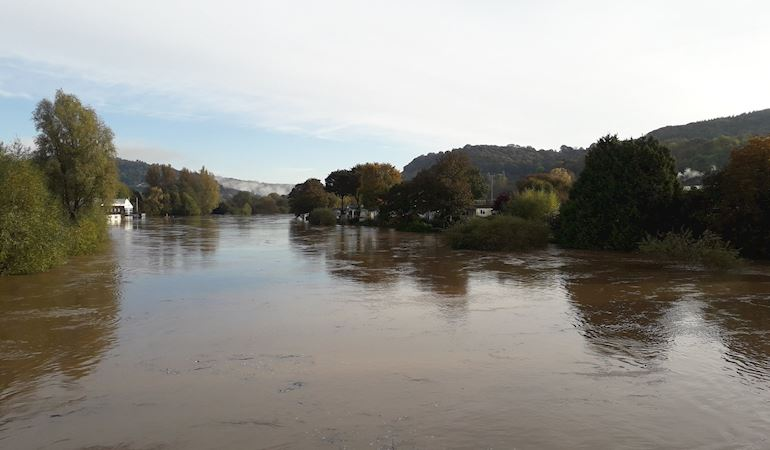 Photo of high river levels on the River Wye in Monmouth