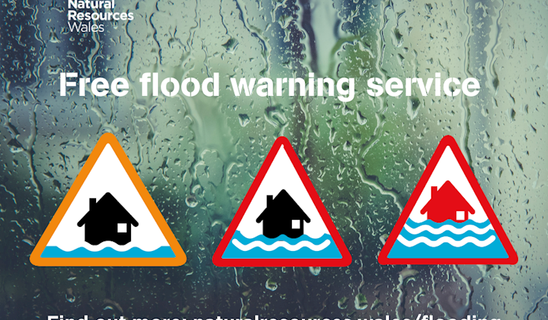 Image showing the three symbols of flood alert, warning and severe warning