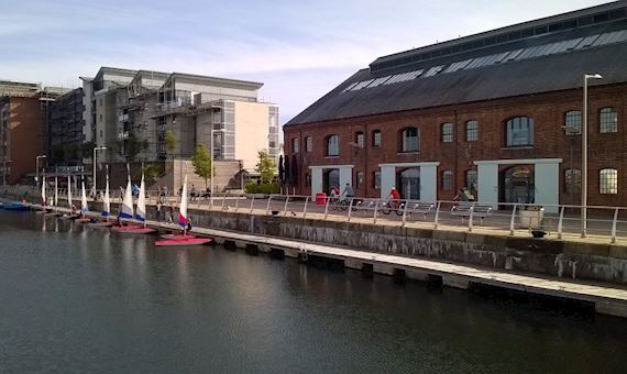 Swansea marina with sailboats moored at the quayside