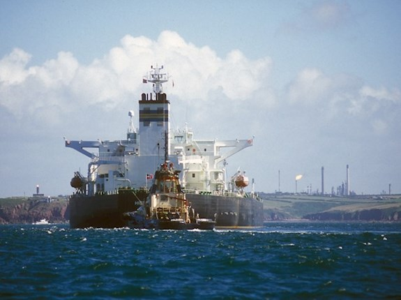 An oil tanker offloading its cargo at Milford Haven oil refinery in Pembrokeshire