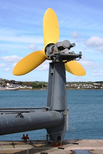 An example of a renewable energy underwater Deltastream turbine before being submerged.