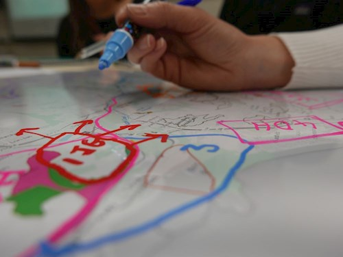Area Statement engagement – workshop participant drawing on a map