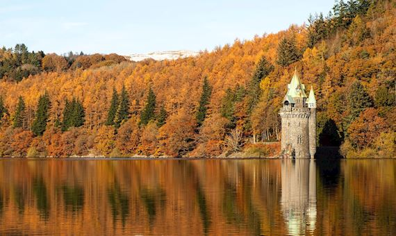 Photograph Of Water Tower At Lake Vyrnwy With Autumn Trees In The Background