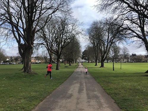 Man jogging in Pontcanna fields