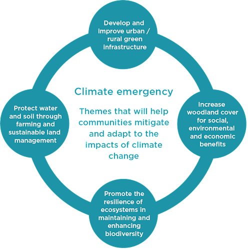 Circular infographic displaying how Climate emergency is central to all of North East Wales' themes