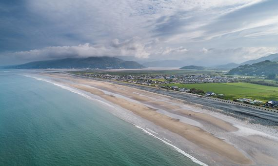 Aerial View Of Fairbourne, A Sea Threatened Village In Meirionnydd