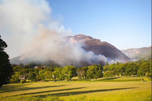 Conwy, North Wales, UK. 5th June 2016. UK Weather – High temperatures recorded over North Wales have resulted in heather fires on Alltwen mountain, near Dwygyfylchi