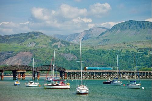 Barmouth rail Bridge, Meirionnydd, Cambrian Coast rail link between Machynlleth and Pwllheli.