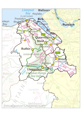 North East Wales Area boundary map