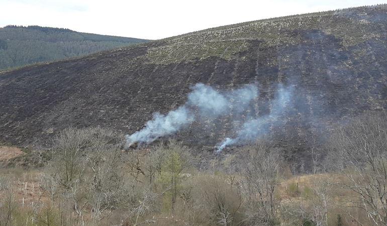 Fire on hillside at Penhydd, Afan Forest Park