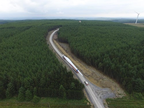 turbine being transported into Brechfa Forest on NRW Managed Estate