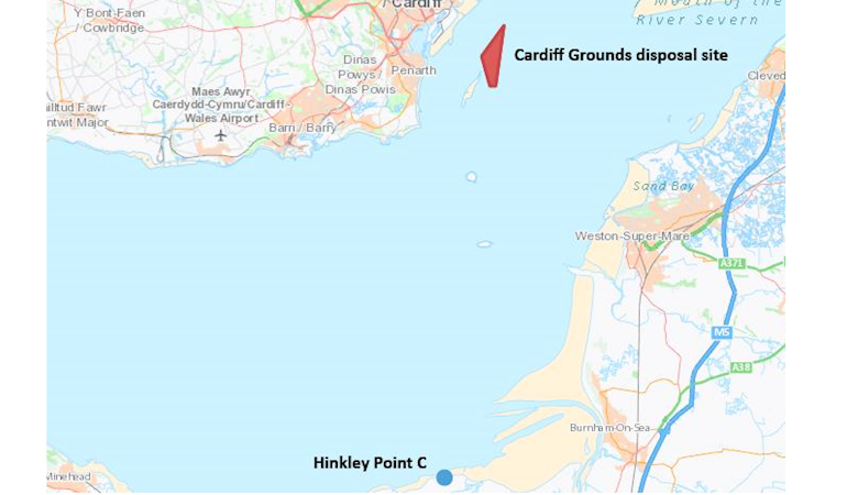 Map of south Wales and Somerset showing the location of the Cardiff Grounds disposal site in the Severn Estuary