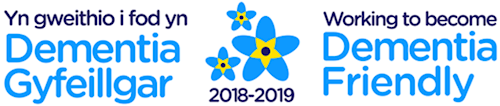 Logo for working to become dementia friendly 2018 to 2019