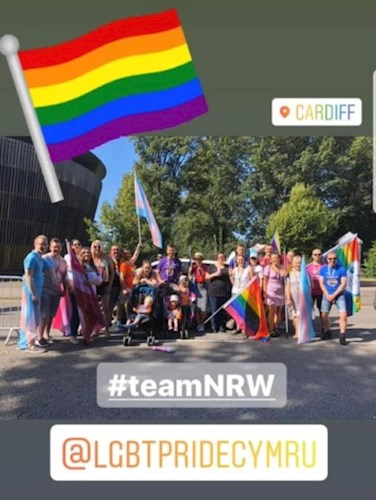 Natural Resources Wales staff taking part in Pride Cymru parade