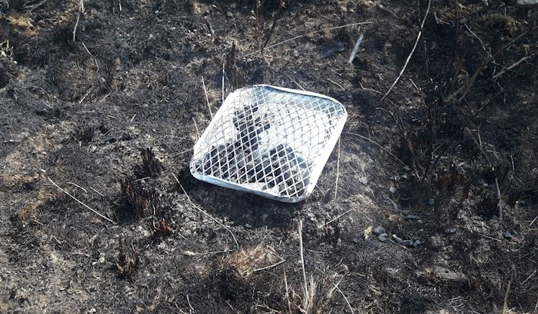 The disposable barbecue that started a fire at Bryn Forest near Hafod Farm in the Afan Valley.