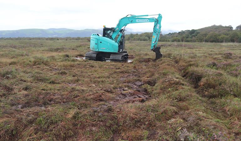 Bunding work starts at Cors Fochno raised bog near Borth in Ceredigion