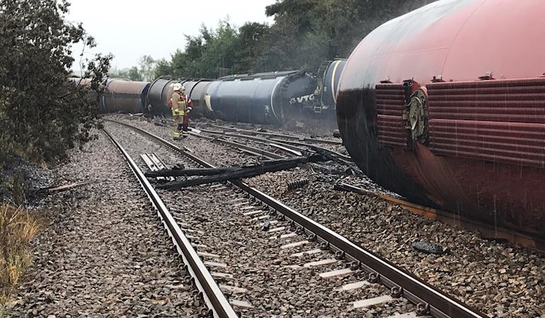 Photo of train wagons derailed