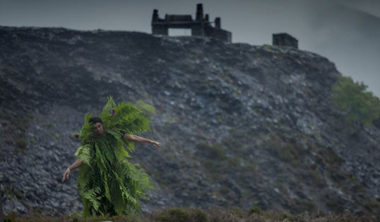 Man dressed as a tree - image from Egin International climate change residency.