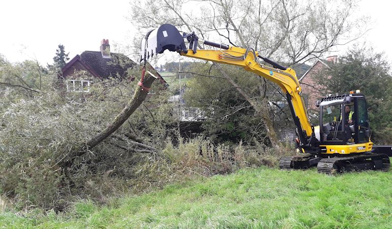 JCB removing a large tree from the river Teme