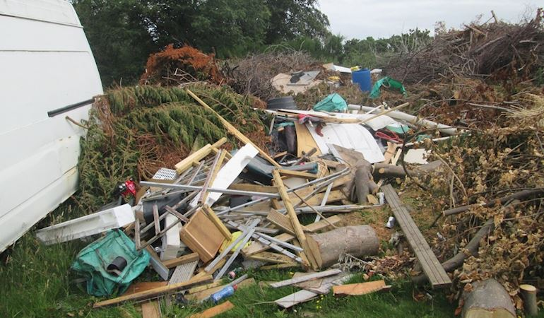 Illegal waste dumped at a site in Colwyn Bay