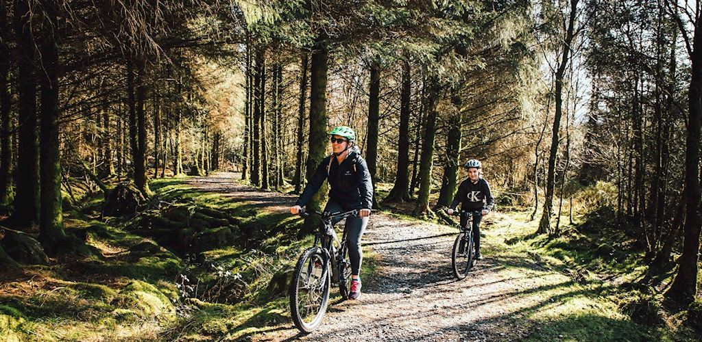 Woman and girl cycling in forest