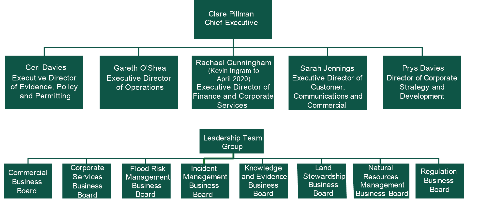 Our executive structure diagram. Details explianed in surrounding text.