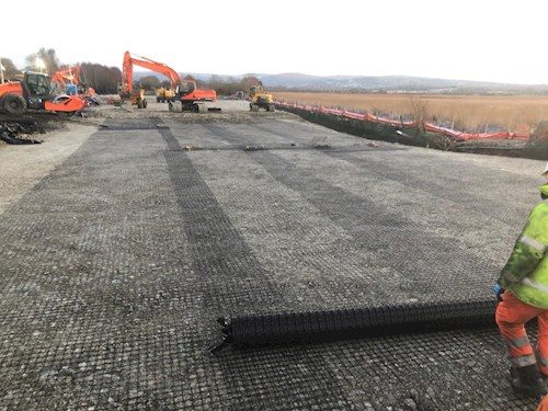Geocell being laid
