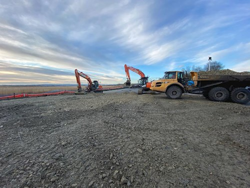 Diggers and dumper truck on the site