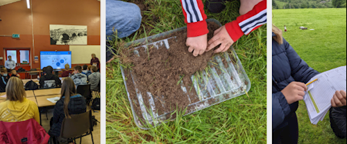 snapshots of stakeholder engagement work. A classroom, fieldwork using soil and survey work.