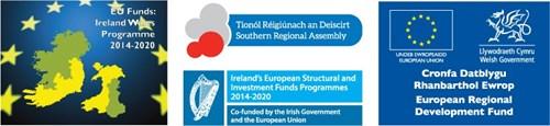 EU Ireland Wales Fund logo, Ireland-Wales Programme 2014-2020 logo, European Regional Development Fund logo